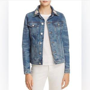 Hudson Jeans Jacket Embroidery Floral Roses Denim